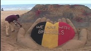 India: Sand sculpture pays tribute to victims of Brussels attacks