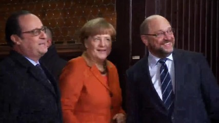 France: Hollande and Merkel meet with EP's Schulz in Strasbourg