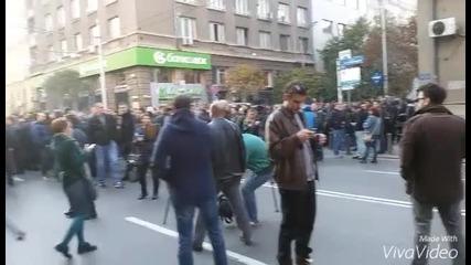 Протест на служителите на МВР пред Министерството на финансите
