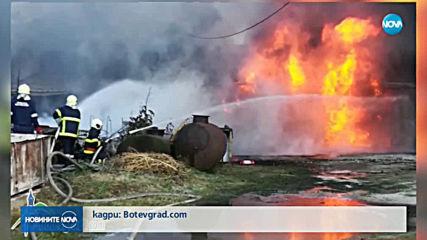 Голям пожар в склад в Ботевград