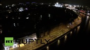 Russia: Drone captures night-time cycle parade illuminating Moscow's streets