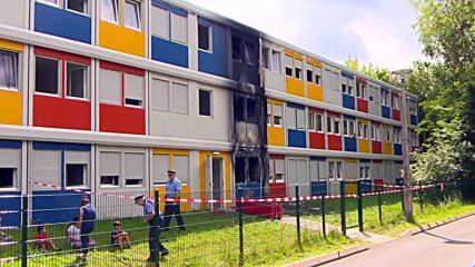 Germany: Fire blazes through parts of refugee shelter in Buch, Berlin