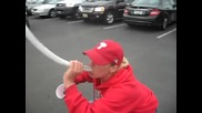 Girl drinking Beer Bong at Phillies game,gets high-5 from cops