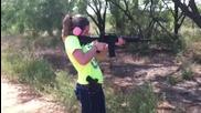 Sexy girl shooting gun - ar15