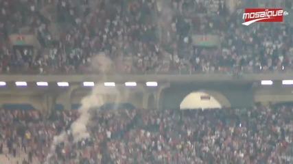Меле по трибуните по време на мача Клуб Африкен - Есперанс де Тунис!