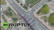 Ukraine: Drone captures cars forming DNR/DPR flag