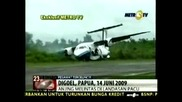 Индонезийски самолет излезе от пистата