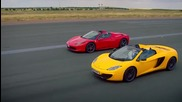 Top Gear - Ferrari 458 Spider, Mclaren Mp4-12c Spider и Audi R8 V10 Spyder