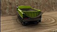 Etf минен камион максимален градус на завиване (анимация)