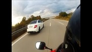 1080p!mercedes C 63 Amg Coupe vs Cbr 600 Rr vs R6 Top Speed