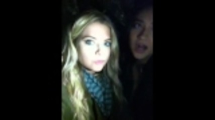 Shay Mitchell & Ashley Benson being funny on set of Pll on may 20 2011