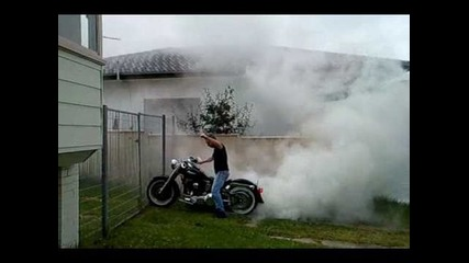 Harley Fatboy Burnout Ss in Driveway fullysick smoking!!!
