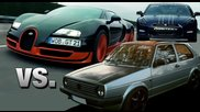 Golf 2 16vampir vs Bugatti Veyron vs Nissan Gt-r