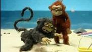Разгонена маймуна голям смях - анимация
