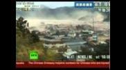 Японското земетресение: Хеликоптер прави въздушно видео на гигандски вълни цунами