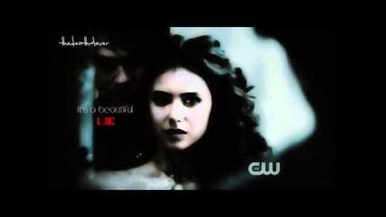 Damon/elena - it's a beautiful l i e, it's the perfect d e n i a l ...