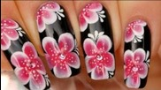 Nail art one stroke fleurs asiatiques
