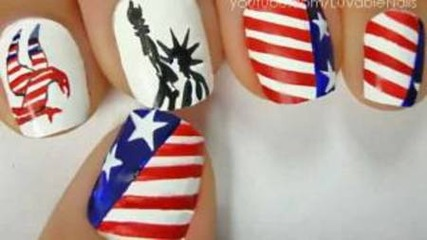 American Flag and Statue of Lliberty Art by Luvablenails