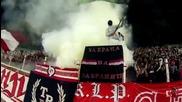 Всички на стадиона, за името свещено... за нашите легенди... не ще се предадем!