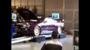 1000 hp skyline r34 Gtr at autosalon dyno