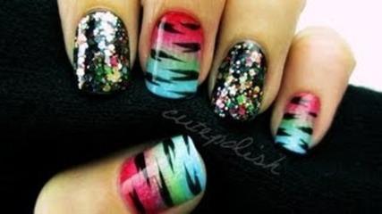 Glitzy Rainbow Tiger Nails - Cutepolish