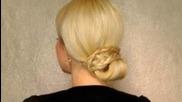 Braided bun prom wedding updo Cute easy elegant bridesmaid hairstyles for long hair tutorial