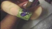 Акрилна нокти урок, зелено и лилаво блясък с прости 3d цвете