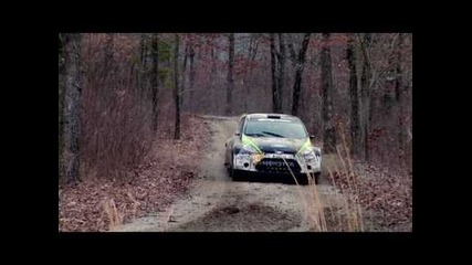 Ken Block tests for 5th win at the 2010 100 Acre Wood Rally in the Monster Energy Ford Fiesta