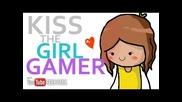 Целуни момичето геймърка