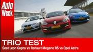 Seat Leon Cupra vs Renault Megane Rs vs Opel Astra Opc English subtitled