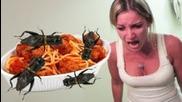 Spaghetti And Meat Bugs Prank