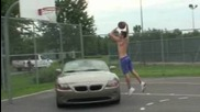 "Top 5 Dunks by Dunkfather 5'9"": Dunk over a car, double up,widmill over"