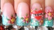 Първата ми обичам Mom Tattoo вдъхновен 3d ноктите акрил урок череша сърцето цъфти син блясък