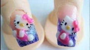 Hello Kitty акрилния дизайн на ноктите 3d лилаво блясък