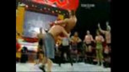 John Cena and Randy Ortan vs Raw roster