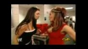 Candice Michelle and Melina Gossip Backstage (november 22nd, 2004)