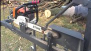Can Cervera - Chainsaw support now with safety bar, firewood processing