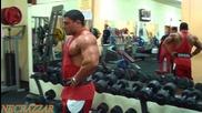 Добри Делев - тренировка за рамена, трапец и трицепс