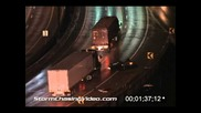 Катастрофа с преобръщане на завоя на магистралата след буря 18.1.2006