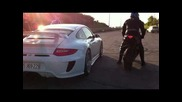 Porsche 9ff. 3.8. vs Yamaha R1 and Suzuki Gsxr 1000 Hd