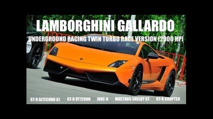 Lamborghini Ugr Twin Turbo vs Nissan Juke-r vs Gt-r Dt1200r vs Mustang Shelby Gt