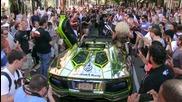 2014 goldrush rally terrorizing Nyc! Lamborghini Aventador, Bugatti Veyron! Police, Revs, Flames!
