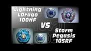 Lightning Ldrago 100hf Vs Storm Pegasis 105rf - Amvbb Beyblade Battle
