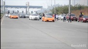 Supercars Gone Wild, Fly-bys, F430 vs Xkr Rev battle at Parx Su