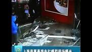 Аквариум с акули се пръсна на парчета в Шанхай