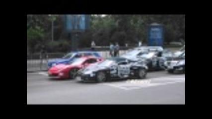 Gumball3000 2011 в София 2 Ferrari 458 italia и Spyker C8 Spyder + C63 Amg