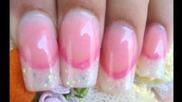 Акрилните нокти блясък френският съвети с розов част усмивка линия 1