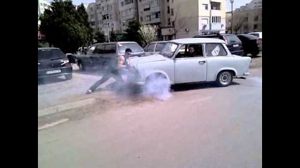 Trabant from Bulgaria burnout