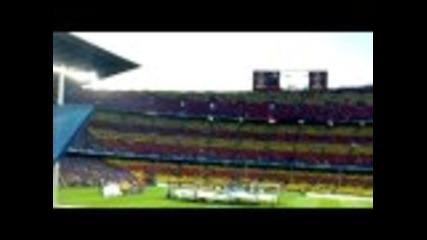 Атмосферата на Камп Ноу преди мач от Шампионската лига