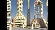 3000 Keva дъски се срутват на забавен кадър в Blender